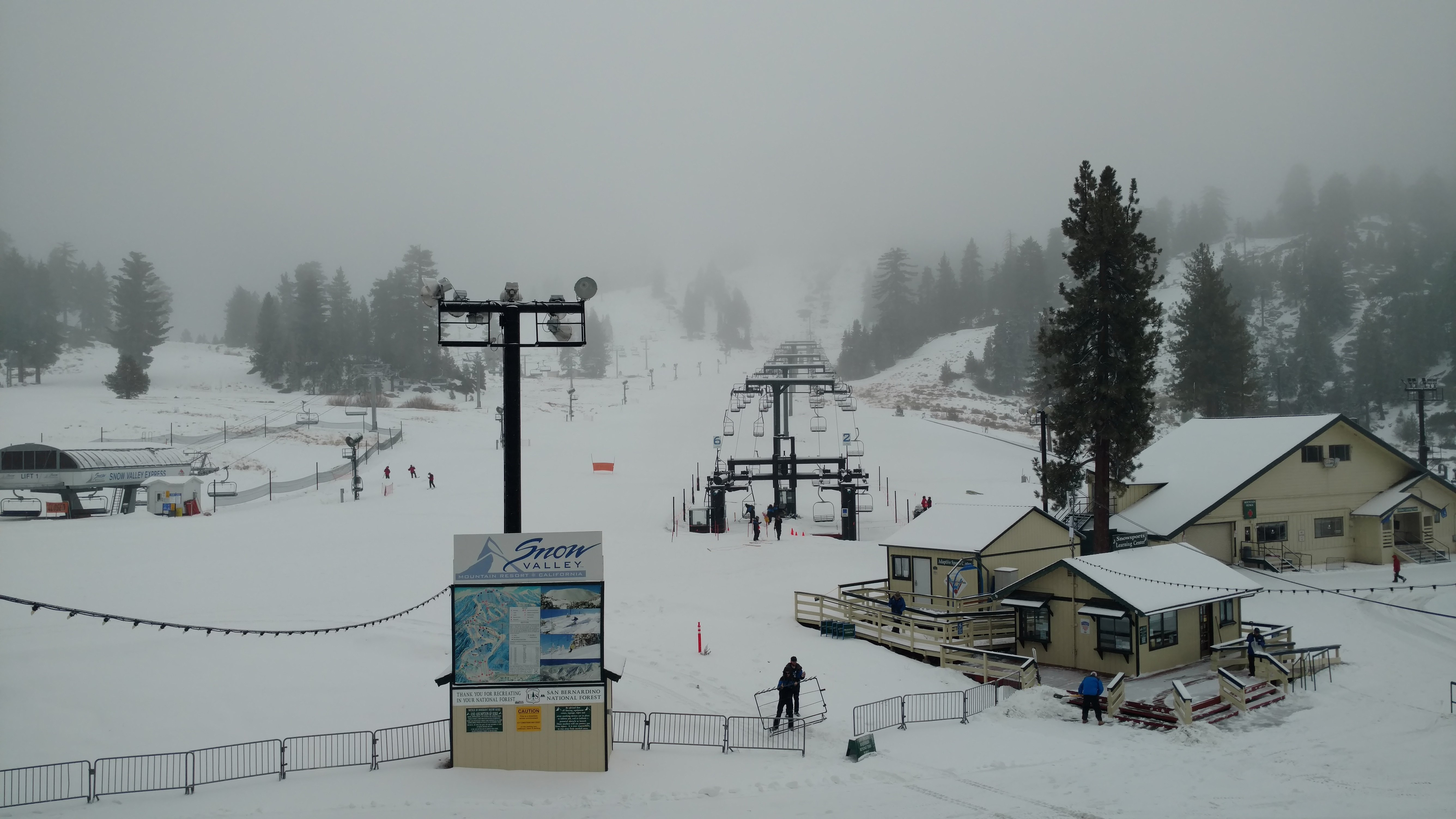 View of Snow Valley lifts on overcast day