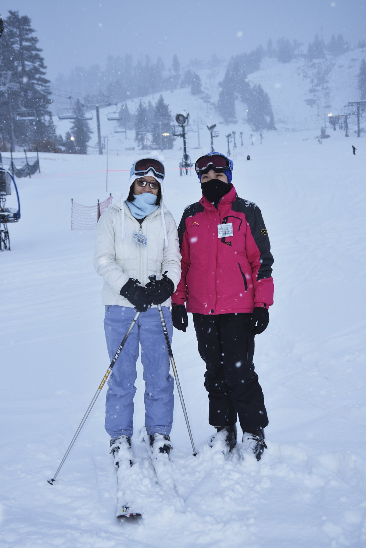 Two happy skiiers pose while snow falls behind them