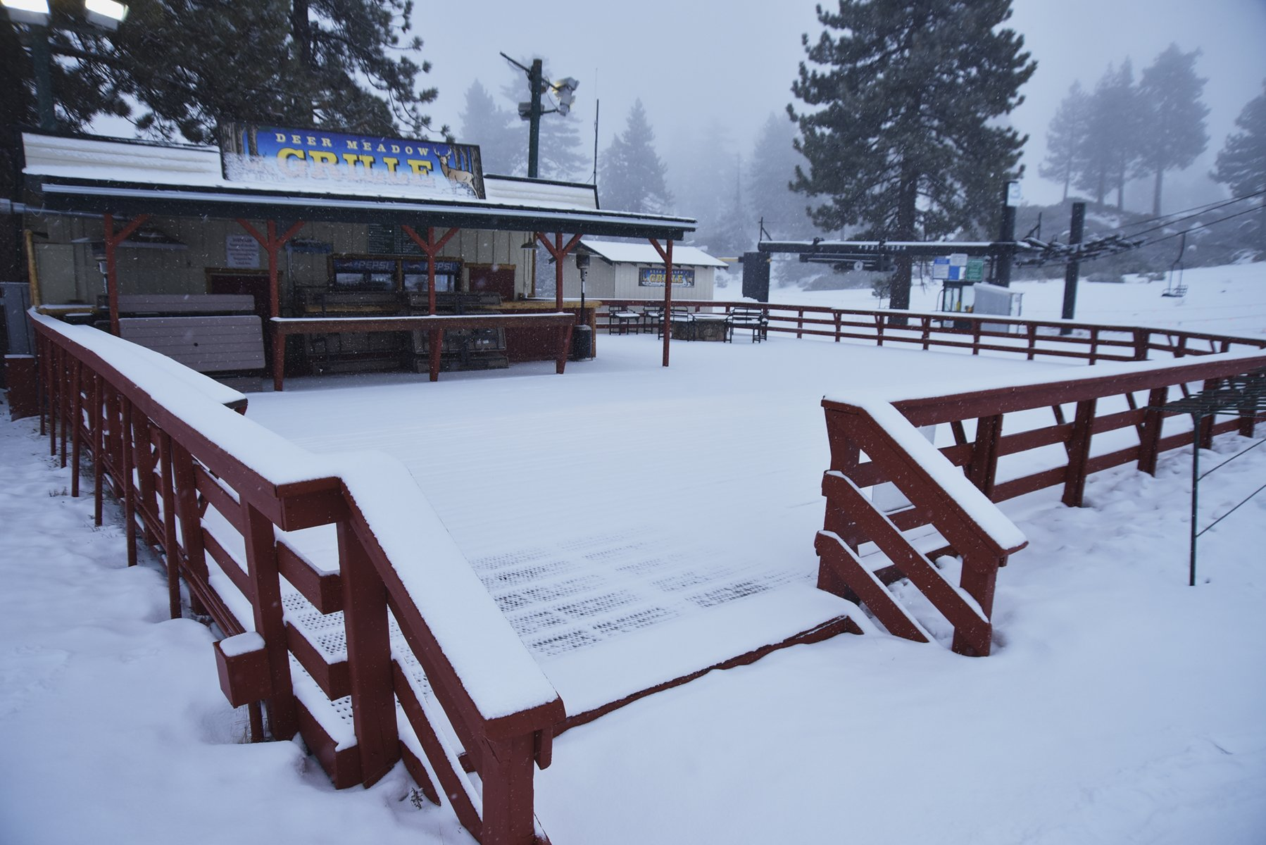 View of Deer Meadow Grille during snowfall